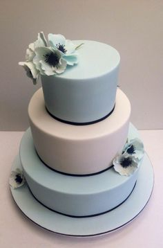 Stunning Simplicity! ~  Fondant covered cakes with Gumpaste Anemones  ~ all edible