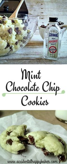 Your favorite ice cream is now a cookie, mint chocolate chip cookies! These soft and chewy mint cookies are full of chocolate chips. They take only a few minutes to make and are a very kid friendly recipe. Mint Chocolate Chip Cookies, Mint Cookies, Galletas Cookies, Cookie Desserts, Just Desserts, Cookie Recipes, Yummy Treats, Yummy Food, The Joy Of Baking