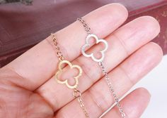 4 Leaf Clover Necklace 14k GOLD Filled Chain or by PinkChemistry