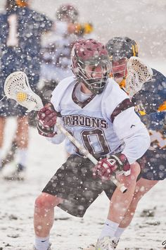 Lacrosse in the snow?!?   The men's lacrosse team opened the 2012 season in the snow, beating St. Mary's 12-6.