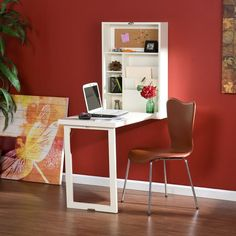 Wall Mounted Desk Hideaway Folding Computer Laptop Table Home Office Convertible Mesa Home Office, Home Office Desks, Home Office Furniture, Modular Furniture, Office Spaces, Table Furniture, Garden Furniture, Office Decor, Fold Out Desk