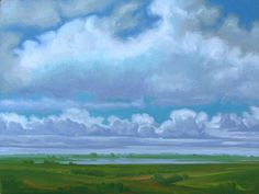 """Hasten The Light"" by Jerry Moon Fine Art-Oil-Landscape-Painting-Kansas City, Missouri-Midwest-Clouds-Sunny-Trees-Blue-Green-Serene-Water"