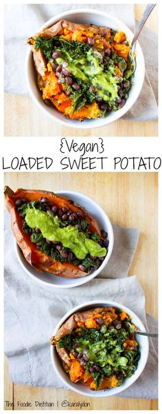 The ultimate vegan loaded sweet potato - packed with kale, black beans, and topped off with a homemade green goddess dressing. Perfect for a quick and easy weeknight meal. | @TheFoodieDietitian
