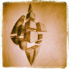 """""""Shattered"""" abstract 4-point perspective exercise"""
