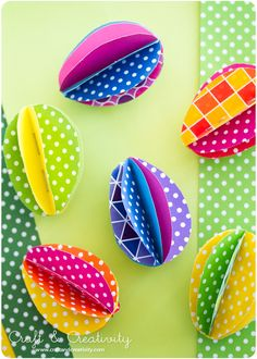 DIY Colorful Paper Eggs - Craft & Creativity Check out all the adorable Easter ideas - food, decorations, etc.