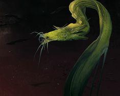 alien eel sketch by Alexander Ostrowski Alien Creatures, Fantasy Creatures, Mythical Creatures, Sea Creatures, Alien Concept Art, Creature Concept Art, Creature Design, Fantasy Beasts, Fantasy Races