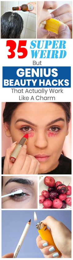These weird but genius beauty hacks work wonders! The diy beauty for teens are great for improving your skin makeup and/or hair. Check it out! The post 35 Super Weird But Genius Beauty Hacks That Actually Work Like A Charm appeared first on Hair Styles. Diy Beauty Hacks, Beauty Hacks For Teens, Diy Hacks, Beauty Ideas, Beauty Hacks Video, Makeup Tricks, Makeup Ideas, Hair Tricks, Makeup Tutorials