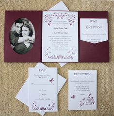100 Personalized Custom Burgundy Butterfly Photo by RaysInvites Pocket Invitation, Laser Cut Wedding Invitations, Wedding Invitation Sets, Invitation Design, Invitation Cards, Burgundy Wedding Invitations, Wedding Invitations With Pictures, Butterfly Photos, Invitations