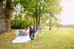 hanging chandelier, tall trees, outdoor photography, gorgeous lighting, sweet sofa, photo props, portraiture, bride and groom, wedding photographer, pretty table, decor ideas, beautiful couple ::Jessica + Adam's private, outdoor wedding portrait photography session:: with Nikki