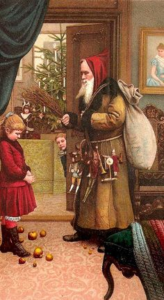 Vintage Santa:  Santa with child that broke ornaments