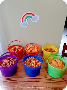 Rainbow Birthday Party - buckets for food!