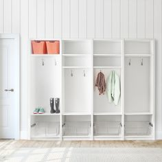 Convenient coat and boot storage is a must this time of year. Create mudroom lockers for every member of the family with SpaceCreations. Featured: SpaceCreaions in Classic White #MudroomOrganization #EntrywayIdeas #HomeOrganization Boot Storage, Kitchen Pantry, Classic White, Mudroom, Home Organization, Lockers, Laundry, Entryway, Shelves