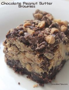 Chocolate Peanut Butter Brownies.  These are excellent.  I used the chocolate ganache (w/heavy cream) and drizzled P nut butter ganache on top!  Yum!