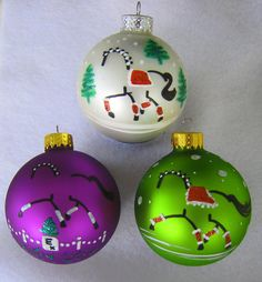 Ships FREE with Add'l Purchase - 3 Hand Painted Pictorial Glass DRESSAGE HORSE Christmas Ornaments. $19.00, via Etsy.