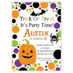 Halloween Invitation - Purple Green Polka Dot, Orange Pumpkin, Black Bat, Spider Personalized Birthday Party Invite - Digital Printable File. $15.00, via Etsy.