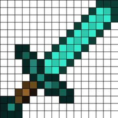 Minecraft_Diamond_sword_16x16 by Menno87 on Kandi Patterns