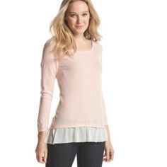NWT August Silk Beautiful Pink Top - high quality! This is a super cute shirt from August Silk with Scoop Knit And Chiffon Trim. Color is Cream Blush - Brand new with tags and retail price of 58$ plus tax - Size is Large - 60% cotton 40% Modal - Make Offer august silk Tops