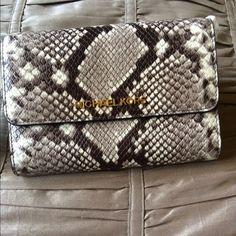 Michael Kors Crossbody Leather Bag Michael Kors Snake Embossed Large Crossbody Handbag with gold chain strap MICHAEL Michael Kors Bags Crossbody Bags