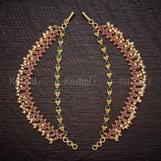 Designer Silver temple matils studded with ruby green synthetic stones & pearls plated with gold polish made of copper alloy! Ruby Necklace Designs, Jewelry Design Earrings, Gold Jewellery Design, Ear Jewelry, Gold Jewelry, India Jewelry, Diamond Jewelry, Small Gold Hoop Earrings, Gold Bar Earrings