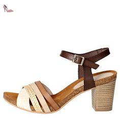 Grunland SB0679-83 Sandale Femme Marron cuir Marron cuir - Chaussures Sandale Femme