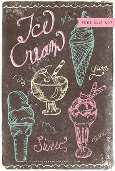 Vintage Ice Cream Clip Art & the Nestlé® Häagen Dazs Artisan Collection - Wachspapier - chalk Board - Helados Ice Cream Logo, Ice Cream Art, Ice Cream Design, Ice Cream Parlor, Ice Cream Quotes, Photo Polaroid, Vintage Ice Cream, Ice Cream Social, Cafe Art