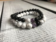 Your place to buy and sell all things handmade Friend Bracelets, Couple Bracelets, Long Distance Bracelets, Black Agate, Boyfriend Girlfriend, Stone Bracelet, Natural Gemstones, Barefoot, Birthday Gifts