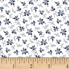 Adele Mini Floral White from @fabricdotcom  Designed by Whistler Studios for Windham Fabrics, this cotton print fabric is perfect for apparel, quilting, and home decor accents. Colors include navy, powder blue, and white.