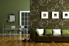 Fresh Green Living Room Interior And Decorating Ideas: Fancy Floral Sticker  Wall Decals And Brown
