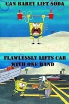 Sponge bob can lift the big things but no the small