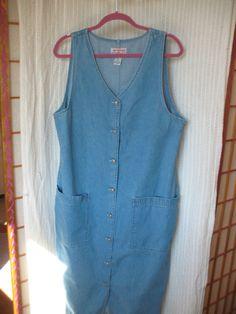 90s vintage denim jumper dress, medium/large, faded denim dress, button down dress, maxi length denim dress, loose fit lagenlook   90s vintage