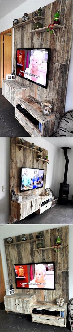Now we are going to show you an idea which serves as TV stand as well as wall art, this idea is enough to copy for adorning a TV launch. There are shelves attached to the wall art for placing the decoration pieces.