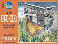 "The Guillows 1/24 Cessna O-1E Bird Dog is a balsa wood aircraft model kit from the range manufactured by Guillow.  Originally designated the L-19, The Bird Dog went into production in June, 1956 and was used during the Korean campaign as a liaison airplane by Army Field Forces to spot enemies troop concentrations, direct ground operations, carry ammunition, and evacuate wounded. Return to production in 1962 and designated the 0-1E, the Bird Dog gained fame anew as a ""FAC"" airplane."