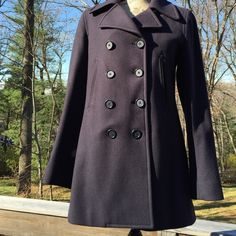 SALEJ. Crew Dark Blue Wool Jacket Size Tall Med J. Crew Dark Blue - 70 percent Wool Jacket. Size Tall Medium. Green Quilted Lining. 4 Button Front. Collared. Pockets. Freshly dry cleaned. No trades J. Crew Jackets & Coats