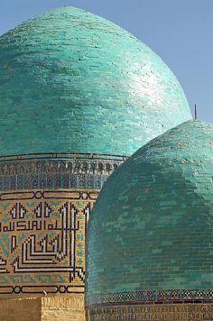 Turquoise domes, Shahr i Zindah Mausoleum, Samarkand, Uzbekistan.