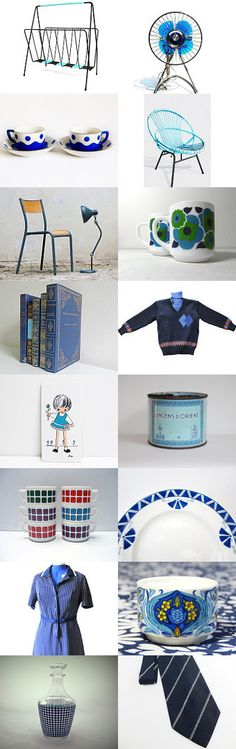 Matin Bleu by Victor on Etsy--Pinned with TreasuryPin.com#Etsy #FrenchVintage #French #vintage #France #VintageFinds #retro #blue #vintagefr