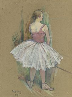 Danseuse en pied vue de dos (1890). Henri de Toulouse-Lautrec (French, 1864-1901). Oil on board. Like many of Lautrec's most accomplished works from this period, the present painting was rendered with diluted oil paint, known as peinture à l'essence, to create the feathery appearance of  pastel. Lautrec's technique here was distinctly his own.