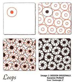 Links to online instructions for drawing CZT® Suzanne McNeill's Zentangle® pattern: Loops.