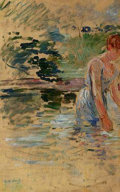 The Bath at Mesnil by Berthe Morisot