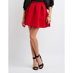 Charlotte Russe Pleated Scuba Skater Skirt ($21) ❤ liked on Polyvore featuring skirts, red, mini skater skirt, pleated circle skirt, flared mini skirt, red skirt and skater skirts