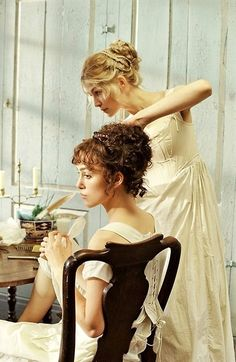 Pride & Prejudice - Scene from the movie. Keira Knightley (seated) is Elizabeth Bennet...getting ready for the Ball (the big DANCE).
