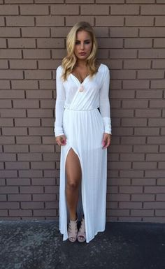 Long sleeve Bohemian style white maxi