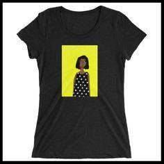 Women's T-shirt - Woman in Polka Dot dress with yellow background http://www.houseofterrance.com/patrick-earl-for-hot-fashions/womens-t-shirt-woman-in-polka-dot-dress-with-yellow-background