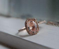 Cushion peach sapphire champagne sapphire ring