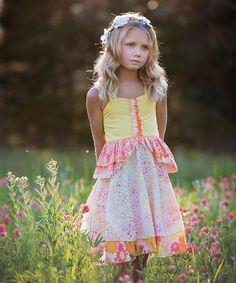 Pink & Yellow Floral A-Line Dress - Girls #zulily #zulilyfinds