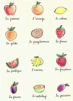 fruits in french class French Verbs, French Grammar, French Phrases, French Adjectives, French Language Lessons, French Language Learning, French Lessons, French Teacher, Teaching French