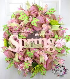Deco Mesh Burlap SpRiNg Is Here Pink Lime Green Door Wreath by www.southerncharmwreaths.com #burlap #spring #wreath SOLD