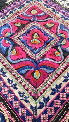 Colorfull folkloric handcrafted textile ~ Hmong hilltribe embroidery, Thailand