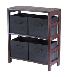 "Winsome Wood Capri Wood 2 Section Storage Shelf with 4 Black Fabric Foldable Baskets by Winsome Wood. $82.82. Ships complete with hardware and tools for easy assembly. convenient storage. contemporary look. 5pc set includes 1 25.25""L x 29.25""H wood shelf and 4 baskets. 11x10x9 baskets made of black fabric. Winsome's Capri 5pc wood shelf with 4 black is space saving storage solution for use around the home.  The wood shelf is 3 tiered and finished in a warm espresso ..."