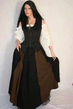 Mittelalter  Magd  Bluse Mieder Rock Kleid komplett Gewandung 36 38 40 42 44 46