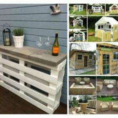 Why not make a fun outdoor easy DIY project: This Pallet Outdoor Bar is perfect for your deck, backyard patio, or garden area? Wooden Pallet Crafts, Diy Pallet Projects, Wooden Pallets, Wood Projects, Pallet Ideas, House Projects, Pallet Shed, Pallet Patio, Pallets Garden